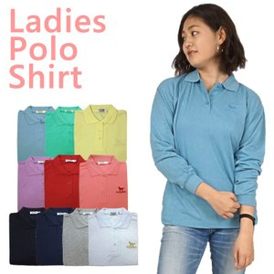 【SALE】婦人レディース長袖ポロシャツ 10色4サイズ(M/L/LL/3L)から(ps1201)