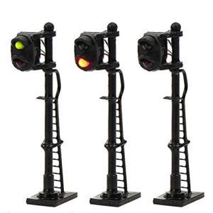 情景コレクション 交通 信号ライト 2灯式信号機 黒い金属ライト柱 3本入り 1/150 鉄道模型 建物模型 ジオラマ 情|netshop-ito