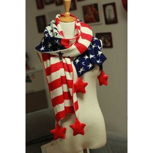 ロングマフラー アメリカ国旗風 星のボンボン付き (レッド)