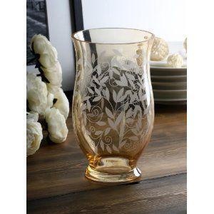 フラワーベース ガラス製 淡い 琥珀色