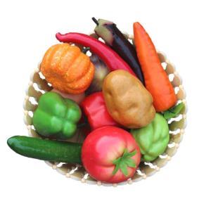 食品サンプル どっさりお野菜 タマゴ 12種類セット 竹カゴ入り|neustadt