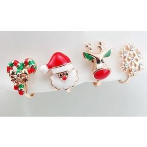 イヤリング クリスマス サンタ トナカイ 雪の結晶 リボン 4個セット|neustadt