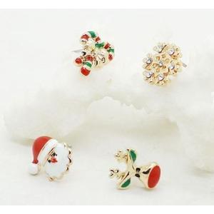 ピアス クリスマス サンタ トナカイ 雪の結晶 リボン 4個セット|neustadt