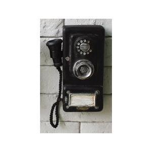 壁掛けオブジェ アンティーク風 黒 レトロ電話機 (A)|neustadt