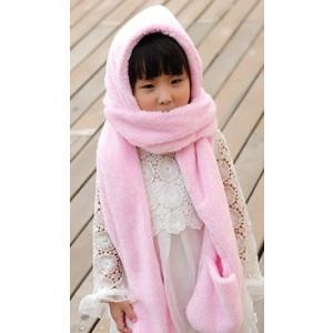 手袋 帽子 マフラー ボンボン付き キッズ ジュニア (ピンク)