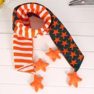 マフラー スター×ボーダー 星型ボンボン付き キッズ ジュニア (オレンジ)