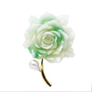 ブローチ 淡い翡翠色 大きな薔薇の花|neustadt