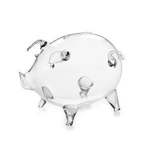 とってもキュートなガラスのブタさんモチーフの置物兼貯金箱です。 繊細な透明感溢れる小さなブタさんは見...