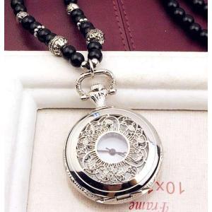 懐中時計 アンティーク風 透かしのリーフ 数珠のネックレス ...