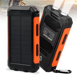 送料無料 モバイルバッテリー ソーラー 大容量 10000mAh 携帯充電器 充電 2USBポート ...