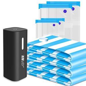 真空収納バッグ 電動ポンプ付き ジャンボ真空ストレージバッグ 小型 軽量 USB給電式 圧縮袋 衣類...