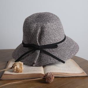 レディース 麦わら帽子 リボン 折りたた UVカット UV ...