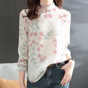 刺繍シャツ 上品さが溢れるブラウス トップス  レディース  長袖  ゆったりとしたシルエット 大人可愛い 秋春 デニムなど様々なお好みのボトムスに合わせ◎|new-forest-heart