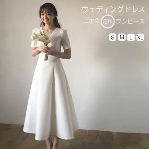 二次会用ウエディングドレス 二次会ドレス 花嫁ドレス ワンピース 旅行 海外挙式 ビーチフォト シー...