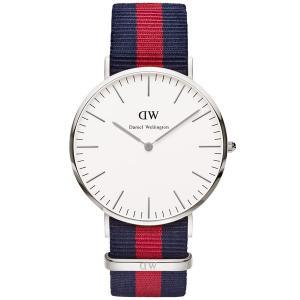 Daniel Wellington ダニエルウェリントン Classic Oxford 40mm クラシック オックスフォード 0201DW ホワイト×レッド×ブルー 海外モデル 腕時計|newest