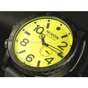 NIXON ニクソン 腕時計 THE 51-30 フィフティーワンサーティー PU A058-603 オールブラック×ライム ポリウレタン 300m防水 A058603 即納|newest