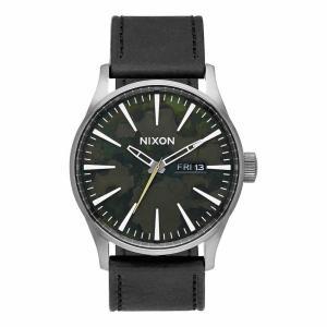 NIXON ニクソン THE SENTRY LEATHER セントリーレザー A105-2069 カモフラージュ×ブラック A1052069 腕時計 メンズ|newest