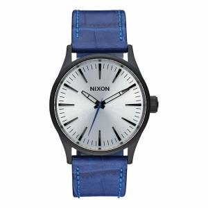 NIXON ニクソン THE SENTRY LEATHER セントリーレザー A377-2131 シルバー×ブルー A377-2131 腕時計 ユニセックス|newest