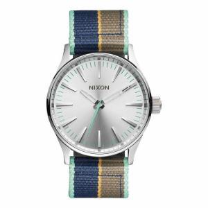 NIXON ニクソン SENTRY NYLON  セントリー ナイロン A426-2083 シルバー×ブルー×ブラウン×グリーン A4262083 腕時計 ユニセックス|newest