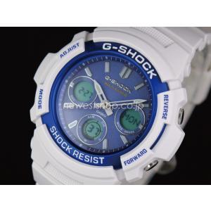 CASIO カシオ G-SHOCK Gショック 電波 マルチバンド6 タフソーラー AWG-M100SWB-7A ブルー×ホワイト 海外モデル 腕時計|newest