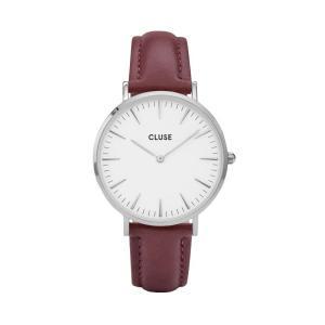 CLUSE クルース LA BOHEME SILVER ラ・ボエーム シルバー (38mm径) CL18217 ホワイト×ボルドー 腕時計 レディース 送料無料|newest