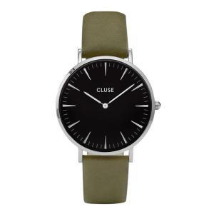 CLUSE クルース LA BOHEME SILVER ラ・ボエーム シルバー (38mm径) CL18228 ブラック×オリーブ 腕時計 レディース 送料無料|newest