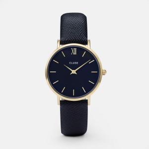 CLUSE クルース MINUIT GOLD ミニュイ ゴールド(33mm径) CL30014 ブラック×ミッドナイトブルー 腕時計 レディース 送料無料|newest