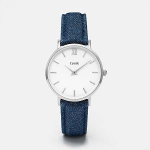 CLUSE クルース MINUIT SILVER ミニュイ シルバー(33mm径) CL30030 ホワイト×ブルーデニム 腕時計 レディース 送料無料|newest