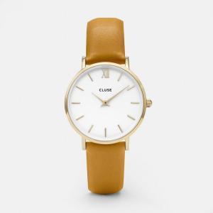 CLUSE クルース MINUIT GOLD ミニュイ ゴールド(33mm径) CL30034 ホワイト×マスタード 腕時計 レディース 送料無料|newest