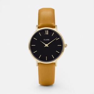 CLUSE クルース MINUIT GOLD ミニュイ ゴールド(33mm径) CL30035 ブラック×マスタード 腕時計 レディース 送料無料|newest
