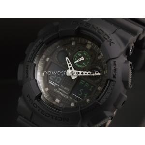 CASIO カシオ G-SHOCK G-ショック Military black series ミリタリーブラック・シリーズ GA-100MB-1A ブラック×グリーン 海外モデル 腕時計 即納|newest
