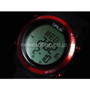 正規品 GRUS グルス 歩幅計測機能付きウォーキングウォッチ GRS001-01 ブラック×レッド 腕時計 送料無料