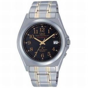 CITIZEN シチズン 腕時計 Q&Qアナログ HG08-205 ブラック×ゴールド/メタルベルト 電波時計 送料無料|newest