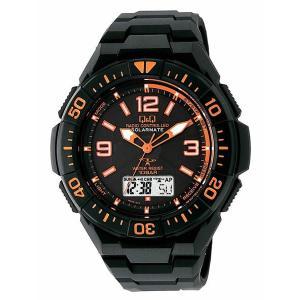 CITIZEN シチズン Q&Q コンビネーション SOLARMATE ソーラー電源 MD06-315 ブラック×オレンジ 腕時計 送料無料|newest