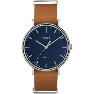TIMEX タイメックス Fairfield フェアフィールド TW2P97800 ネイビー×ブラウン 腕時計 ユニセックス 送料無料 即納|newest
