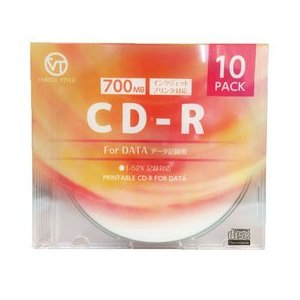 ☆VERTEX CD-R(Data) 1回記録用 700MB 1-52倍速 10P インクジェットプリンタ対応(ホワイト) 10CDRD.700MBCA|newfrontier
