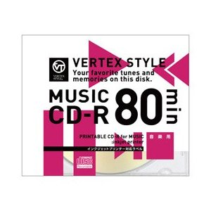 ☆VERTEX CD-R(Audio) 80分  1P インクジェットプリンタ対応(ホワイト) 1CDRA80VX.WP|newfrontier