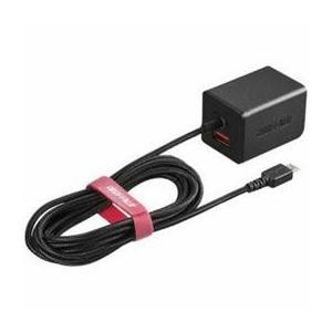 ☆BUFFALO バッファロー BSMPA2401BC2BK 2.4A出力 AC-USB急速充電器 microUSB急速ケーブル一体型タイプ 1.8m ブラック|newfrontier