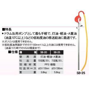 工進 コーシン 手動ドラムポンプ 吐出ホース25mm 72回転/20リットル 低粘度油用 [SB-25]|newfrontier