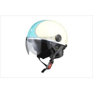 LEAD リード工業 O-ONE オー・ワン シールド付きハーフヘルメット アイボリー/ブルー|newfrontier