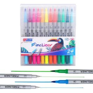 水彩ペン カラーペン 水彩毛筆 太細両端 塗り絵 収納ケース付き 美術 24色セット