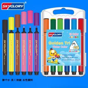 カラーペン マーカーペン サインペン 洗たくでキレイ 子供 大人も (12色セット)