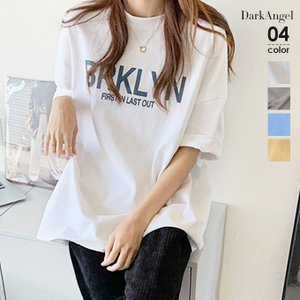 Tシャツ カットソー  レディース 40代 30代 半袖 五分袖 ロゴT ゆったり オーバーサイズ 体型カバー プルオーバー カジュアル プリントT 白 春夏の画像