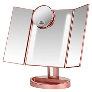 LEEPWEI 化粧鏡  LED三面鏡 折りたたみ式 10倍拡大鏡付き 明るさ調節 180度回転 newwaveshop