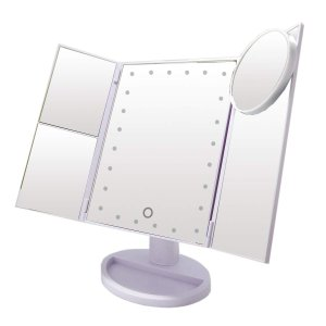 【La Curie 11】 LED付き三面鏡 卓上スタンドミラー 化粧鏡 LEDライト21灯 2倍&3倍拡大鏡付き 折りたたみ式 スタンド ミラー タッチパネル 明るさ・角度自由調 newwaveshop