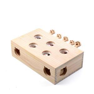 猫 おもちゃ もぐら 猫じゃらし モグラ叩き 猫遊び 猫じゃれ モグラ叩き 木箱 猫じゃらし 知育 おもちゃ ペットグッズ (B1 (5穴)) newwaveshop