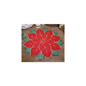 ランチョンマット ポインセチアと柊 金色の縁取り ダイカット クリスマス (レッド)