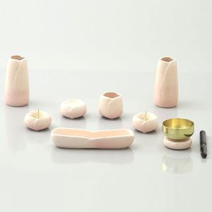仏具 (ゆかり 7点セット + りんセット なでしこ) 7点セット 陶器 お仏壇 創価学会|next-life-style