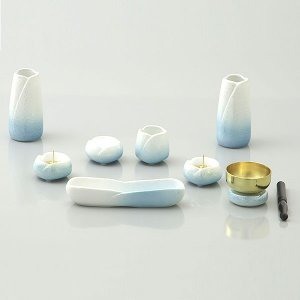仏具 (ゆかり 7点セット + りんセット ライトブルー) 7点セット 陶器 お仏壇 創価学会|next-life-style