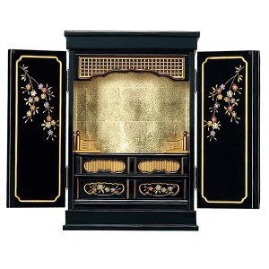 仏壇 金仏壇 塗りモダン (ソメイヨシノ1)  黒色 上置 18号|next-life-style